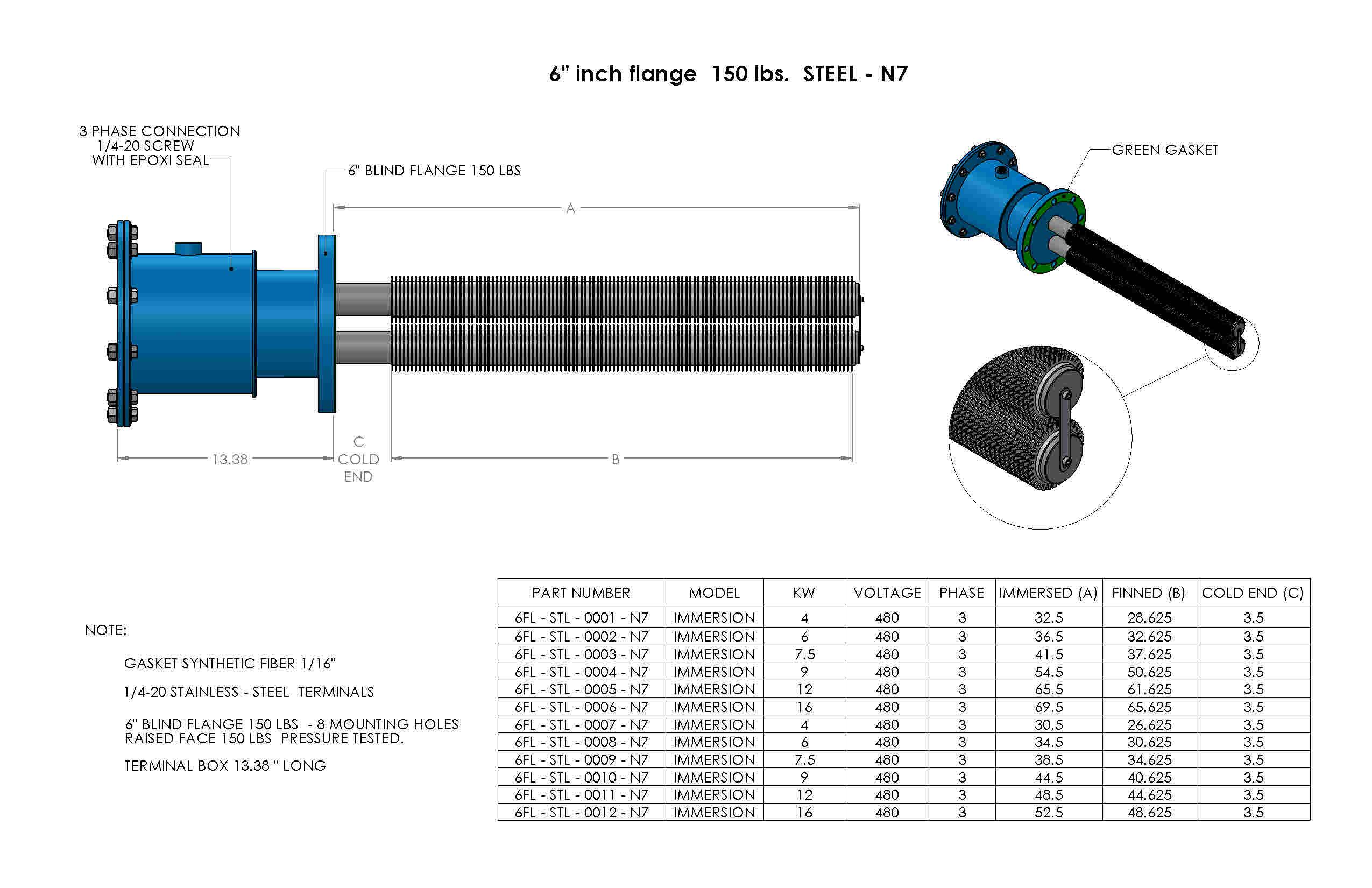 SS-6inch-flange-150lbs-Nema7