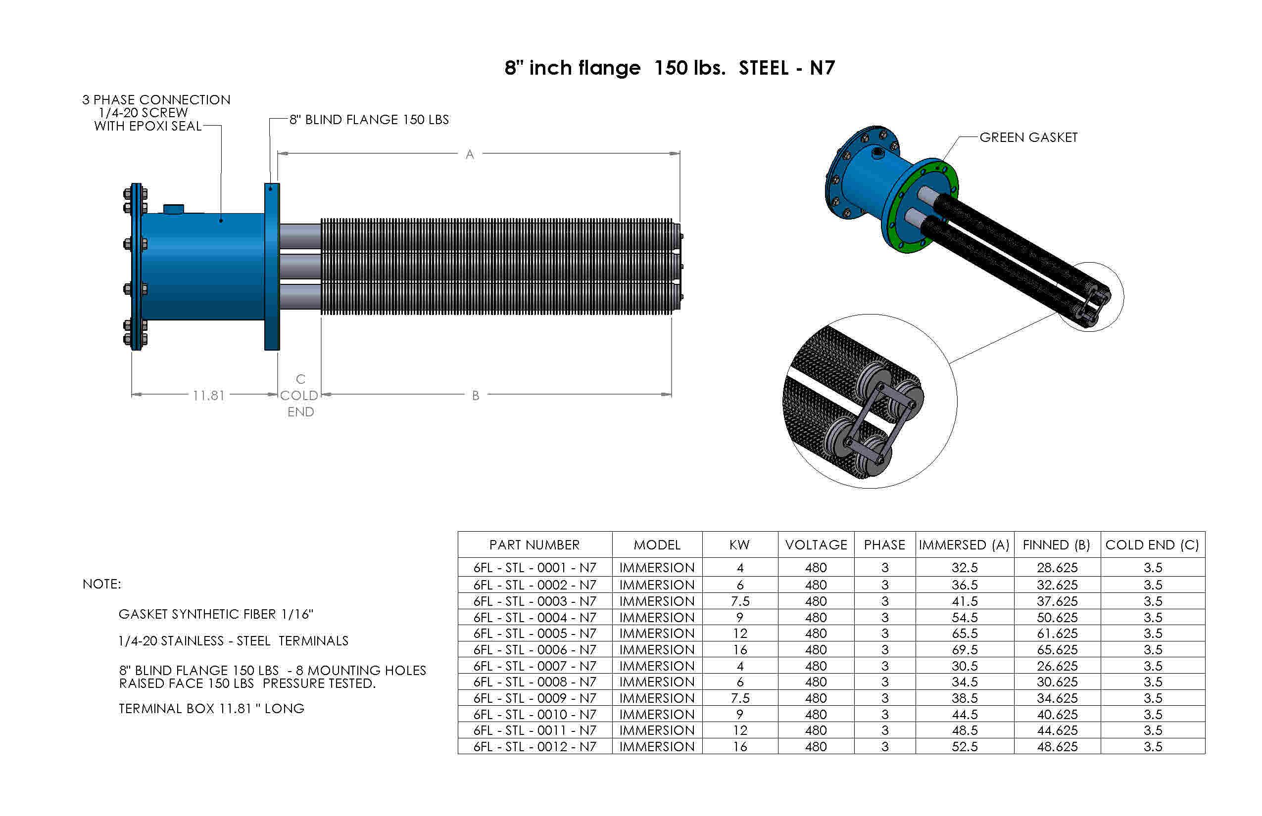 SS-8inch-flange-150lbs-Nema7
